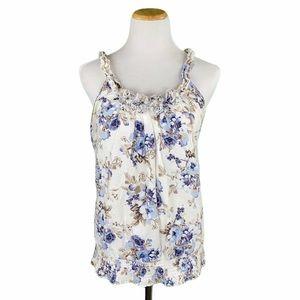 Maurices Blue Floral Print Elastic Waist Tank Top